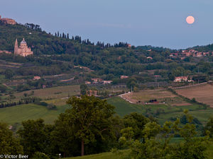 Moonrise over Orvietto Chapel - Tuscany